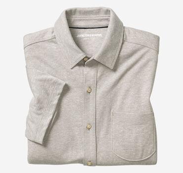 Short-Sleeve Button-Front Knit Shirt