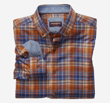 Harvest Plaid Button-Collar Heathered Shirt