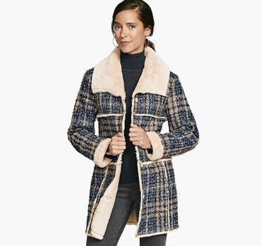 Faux-Fur Lined Boucle Coat