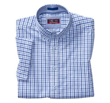 XC4® Gingham Button-Collar Short-Sleeve Shirt