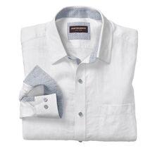 Tonal Squares Washed Linen Shirt