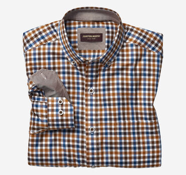 Button-Collar Gingham Shirt