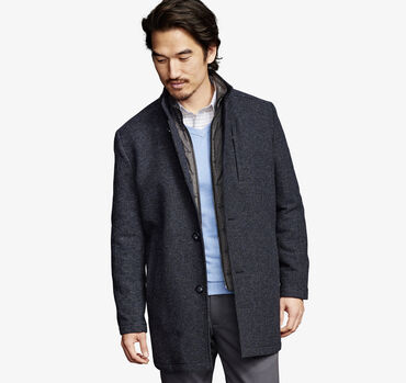 Dash Weave Wool Coat with Quilted Bib