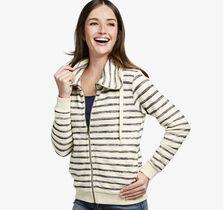 Striped Knit Zip-Front Jacket