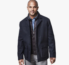 Melton Coat with Contrast Ciré Bib
