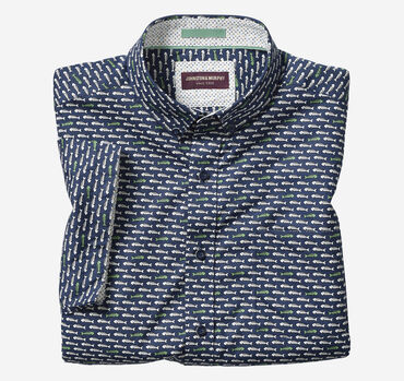 Fishbone Print Short-Sleeve Shirt