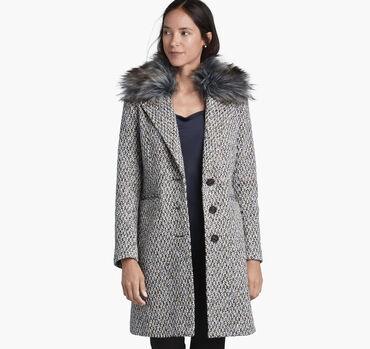 Tweed Coat with Faux-Fur Collar