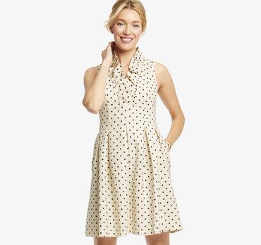 Ruffle-Neck Dot Dress