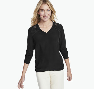 Mixed Media V-Neck Blouse
