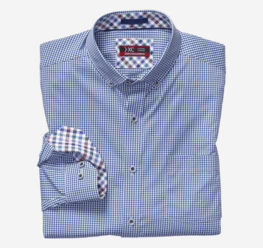 XC4® Micro Gingham Button-Collar Shirt