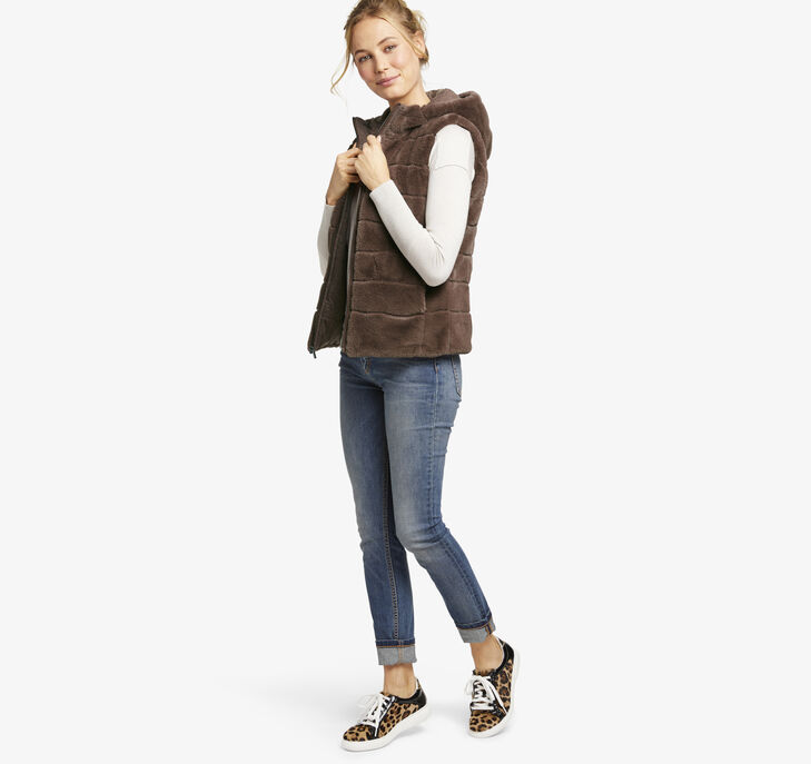 Reversible Faux-Fur Teddy Hooded Vest