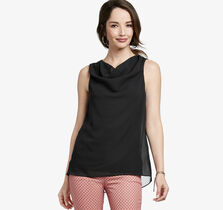 Draped-Neck Sleeveless Top