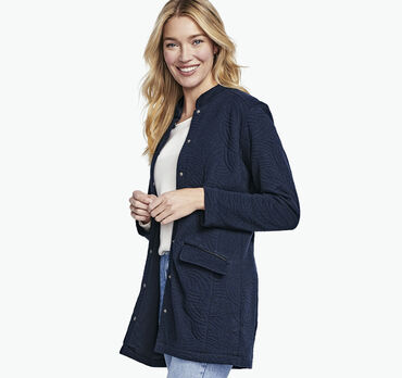 Stand-Collar Knit Jacket