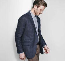 Textured Plaid Wool Blazer