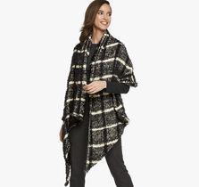 Eyelash Plaid Blanket Scarf