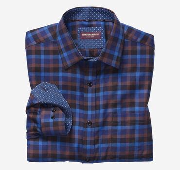 European Dark Herringbone Gingham Shirt
