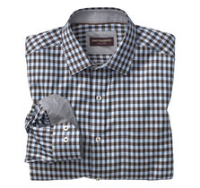 Diagonal Twill Gingham Point-Collar Shirt