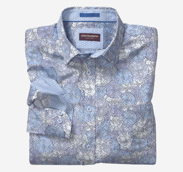 Overlapping Flower Wheel Print Shirt