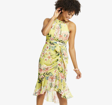 Draped Floral Halter Dress