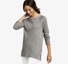 Side-Snap Double-Knit Pullover
