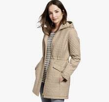 Chevron-Quilted Hooded Jacket