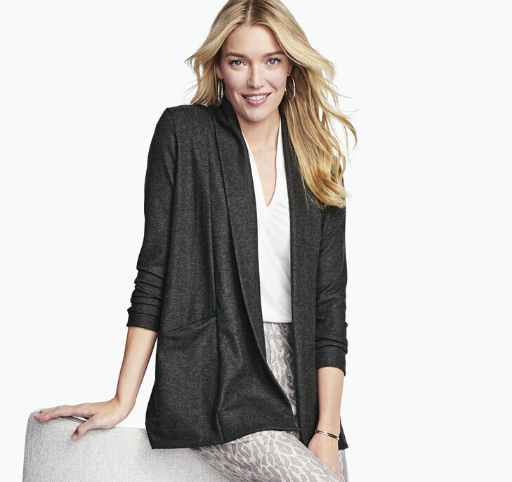 Draped Open-Front Knit Cardigan